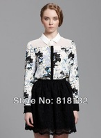 2014 New Arrival Women Chiffon Top Lady Fashion New Lapel Collar Button Flowers Tops Chiffon Long Sleeve Women Shirt Y0005