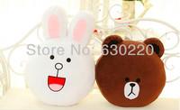 NEW 2014 Kawaii Cony Rabbit/Brown Bear Plush Pillows Toy for girls Hot sale Line App face Bunny and Chocolate Bear Cushin Pillow