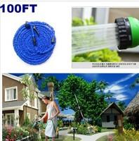 2014 HOT 100FT Expandable Flexible Garden pipe for Car Water hose reels with spray Gun EU /US connector & Blue,Green