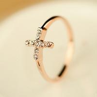 2014 Popular Simple Women's Gold Rings Rhinestone Ring Cross Rings for Female ML-478