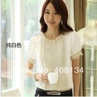 TP2221B-Free Shipping  Women Lace Tops woman Shirt Summer Fashion Elegant  Slim Short Sleeve Chiffon blouse With Beading Flowers