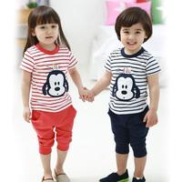 2014 baby boy Outfits kid Clothing Sets cotton cute panda sleeveles shirt Children vest+Capris