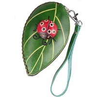 New Women's Day Clutches Leather Handmade Handbags 3D Ladybug Leaf Purse Free Shipping