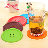 5pcs/lot Creative Household Supplies Cup Mat Round Silicone Coasters Cute Button Coasters 2014 Hot Sale [No Tracking Number]