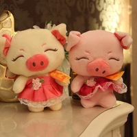 wholesale 18 cm stuffed plush pig toys mini pig in wedding dress baby toys for children, cheap soft stuffed animals piggy toys
