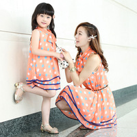 Family set fashion summer 2014 summer clothes for mother and daughter dot chiffon one-piece dress fashion