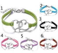 Free shipping fashion handmade heart bracelet DIY bracelet hand-knitted woven