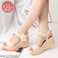 2014 rhinestone bohemia sandals female high-heeled wedges sandals open toe shoes