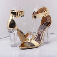 2014 Free shipping Hot Sexy Crystal Thick high heel sandals/T-strappy Buckle Classic Women party wedding sandals Size 5.5-10