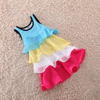 Children's 2014 summer child one-piece dress color block decoration beach puff chiffon cute tiered girl sleeveless dress ,D184