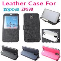 Free Shipping 100% Original Zopo zp998 case Open-windows series Leather flip Cover for Zopo zp998 case for zp998 phone cases