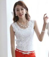 Summer Fashion Top Lace Casual Sleeveless Plus Size Shirts For Women Brand Quality Black White Slim Tanks CS9005