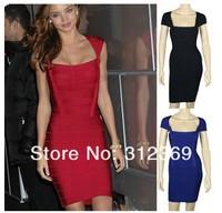 Cap sleeve rayon spandex stretch hl celebrity bandage dress Red/Black/Blue