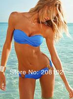 Metal ring blue Swimsuit Swimwear Bikini Sexy Shoulder strap for Women swim suit bathing Leopard grain swim wear
