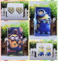 lovely Funny cartoon Minions Hot Despicable me leather PU flip case cover for Samsung Galaxy Trend Lite S7390 S7392
