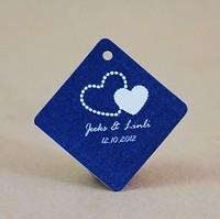 Free Shipping 30 pcs Personalized Blue Rhombus Wedding Favor Tag/Wedding Decoartion/Garden Supplies
