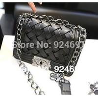 2014 New Fashion Designer Woven Chain Shoulder Bag Classic Plaid  women PU leather handbag Women Messenger Bags