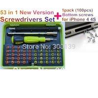 New 53 in1 Multi-purpose precision Screwdriver Set Notebook phone tools 8921+1pack(100pcs) original screws for iPhone 4 4S