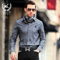 Kc men's clothing 2014 spring shirt male slim long-sleeve slim casual shirt cotton 100% male long-sleeve shirt