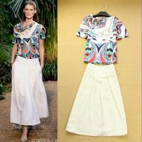 2014 Fashion Top Grade New Arrive Runway Women's Fashion Vintage Elegant Irregular Print -shirt +Half-skirt Twinset  F15877