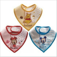 Cartoon triangle shape cotton baby bibs, baby waterproof bibs, saliva towel / triangle baby bib free shipping