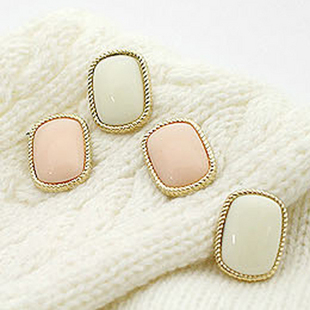 Brief bordered pink rectangle stud earring jewelry wholesale F125 F126(China (Mainland))