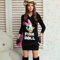pink doll brand Sweatshirt pink female baby doll black duck print long-sleeve with a hood sweatshirt one-piece dress