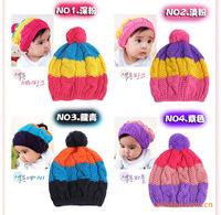 New Baby autumn winter hat colorful rainbow children cap hat twist cap baby cap free shipping
