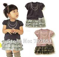 Promotion wholesale 5pcs/lot  Baby girl dress, Children dress, short sleeve dress, children summer clothes +Free shipping