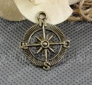 50 pcs/lot Zinc alloy bead Antique Bronze Plated 25MM Compass Charms Pendants Fit Jewelry Making DIY JJA1585