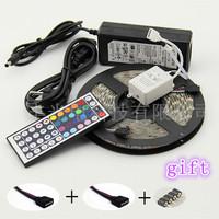 Free shipping, DC12V highlight RGB lamp strip. 5050(60leds/m) +44 controller +12V6A transformer + gift   quality assurance