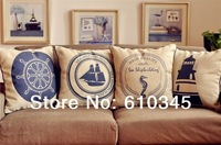 American country Retro Blue Mediterranean Sailboat pillow cover/ Linen Cotton cushion cover  cushion 45cm*45cm pillow  4pcs/lot