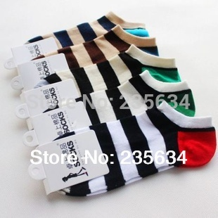 Wholesale 1lot=20pairs=40pieces summer men socks slippers fashion striped male ankle socks men sox(China (Mainland))