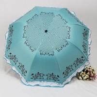 Princess large laciness three fold umbrella vinyl sun-shading super sun umbrella folding umbrella mushroom umbrella