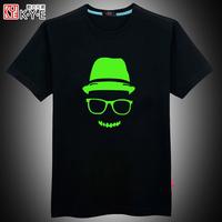 Mens t shirt s fashion 2014 luminous 3d tshirt  glow in the dark plus size High Quality hiphop causal undershirt short-sleeve