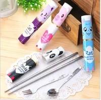 Min. order is $15 (mix order) 3462 portable pen type tableware cartoon set child chopsticks spoon fork