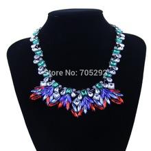 New Design Spring Summer Crystal Flower Pendants Choker Statement Necklace for Women