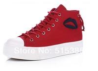 Girls' Formal  Platform Ankle High Canvas Fashion Sneaker,Red,White,Blue Instock