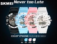 Free HK Post Ship SKMEI Fashion Waterproof Multifunction Rubber Led Digital Watch Outdoor Sport Watches For Men Women Unisex