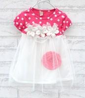 Fashion girls dot dress girls shortsleeve flower decoration dress cotton dress kid's dresses CD7