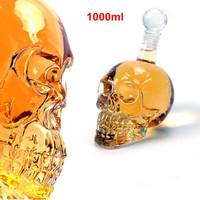 Big Size 1000ml Crystal Skull Head bottle Red Wine Glass Bottle