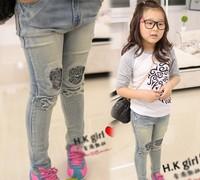 (5 pieces/lot) Children girls sequins skulls jeans Girls sequins skulls wash stretch jeans sequins splicing skull tight jeans