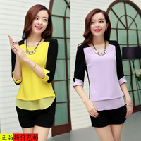 spring elegant chiffon shirt women summer fashion o-neck color block decoration chiffon top female