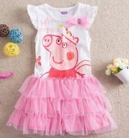 Fashion girls peppa pig princess dress girls cotton shortsleeve tutu dress kid's dresses CD5