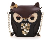 New Women's Chain Bag Lady Splicing Color Shoulder Cross Body Bag Owl Pattern Holder Cover School Tote Bag Hand bag 17782 F