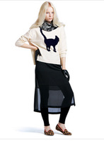 New Fashion Style Cat Printing Round Collar Long Sleeve Pullover Sweater MY44 Free Shipping