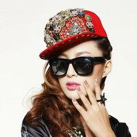 Unisex baseball cap ladygaga Punk style rivet hip-hop spike hat leopard rivet flat brim hat rock/street dancing Free shipping