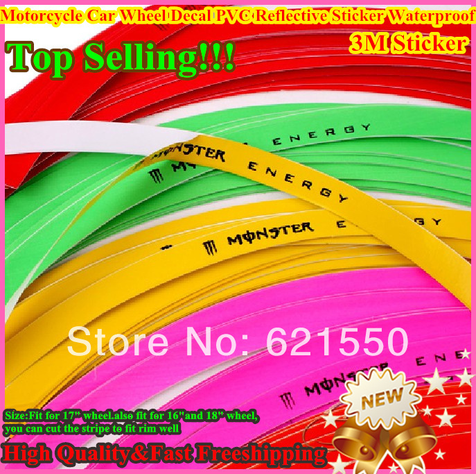 100%New!Modified Motorcycle Car Accessories Wire Rim Wheel Decal Tape Sticker 16pcs PVC Reflective Sticker 10cm-18cm Waterproof(China (Mainland))