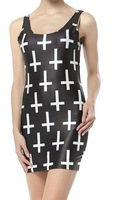 Free shipping 2014 new fashion sexy summer women's fashion printed inverted cross strap dress party dresses print dresses
