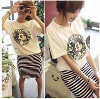 New 2014  Women  Casual Dress Slim Striped  Dress  SI061